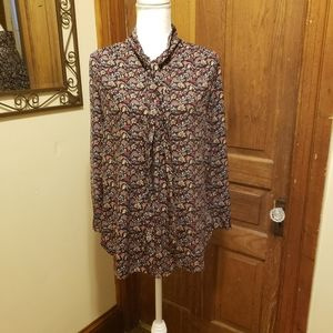 Loft Print High Low Tie Blouse
